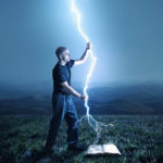 I can Do All Things Through Christ showing a man holding lightning